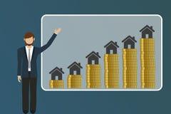 Biznesowy mężczyzna wyjaśnia powstające nieruchomości ceny royalty ilustracja