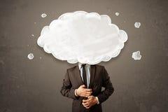 Biznesowy mężczyzna z biel chmurą na jego kierowniczym pojęciu Obraz Royalty Free