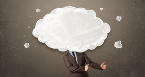 Biznesowy mężczyzna z biel chmurą na jego kierowniczym pojęciu Zdjęcia Stock