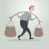 Biznesowy mężczyzna z ciężkimi wiadrami na jego ramionach Fotografia Stock