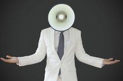 Biznesowy mężczyzna z dzwon głową Zdjęcia Stock