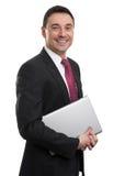 Biznesowy mężczyzna z laptopem Obrazy Stock