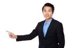 Biznesowy mężczyzna z palcowym punktem up Zdjęcie Royalty Free