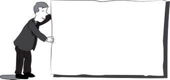 Biznesowy mężczyzna z pustym papierem - Czarny i biały kreskówki ilustracja Royalty Ilustracja