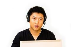 Biznesowy mężczyzna z słuchawki zdjęcie stock
