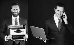 Biznesowy mężczyzna z telefonem, laptopem i maszyna do pisania, Technologia lub archaizm fotografia stock