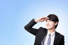 Biznesowy mężczyzna patrzeje daleko od kopiować przestrzeń Zdjęcie Stock