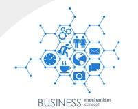 Biznesowy mechanizmu pojęcie Abstrakcjonistyczny tło z związanymi przekładniami i ikonami dla strategii, usługa, analityka Obrazy Royalty Free