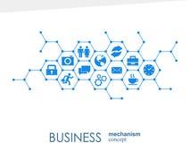 Biznesowy mechanizmu pojęcie Abstrakcjonistyczny tło z związanymi przekładniami i ikonami dla strategii, usługa, analityka ilustracji