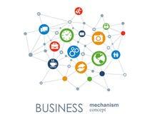 Biznesowy mechanizmu pojęcie Abstrakcjonistyczny tło z związanymi przekładniami i ikonami dla strategii, usługa, analityka royalty ilustracja