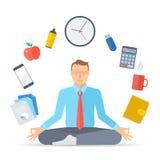 Biznesowy medytacja d ilustracji