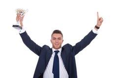 biznesowy mienia mężczyzna trofeum Zdjęcia Stock