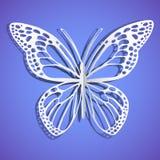 biznesowy motyla karty papier przyczepiający Ćma biały papier niebieska tła niebieski obraz nieba tęczową chmura wektora Zdjęcia Royalty Free
