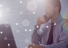 Biznesowy narzuta interfejs z biznesmenem i komputerem Zdjęcie Stock