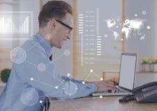 Biznesowy narzuta interfejs z biznesmenem i laptopem Obrazy Stock