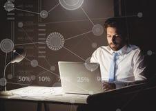 Biznesowy narzuta interfejs z biznesmenem i laptopem Zdjęcia Stock
