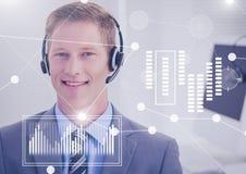 Biznesowy narzuta interfejs z biznesmenem jest ubranym słuchawki Obraz Royalty Free