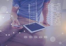 Biznesowy narzuta interfejs z biznesmenem, telefon i pastylka Zdjęcia Stock