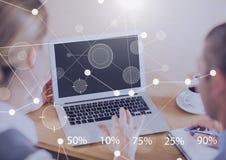Biznesowy narzuta interfejs z ludźmi biznesu i laptopem Obraz Stock