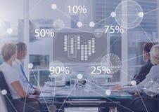 Biznesowy narzuta interfejs z ludźmi biznesu w biurze przy spotkani rady Zdjęcie Stock