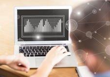 Biznesowy narzuta interfejs z rękami i laptopem Obrazy Royalty Free