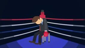 Biznesowy nieudany i strata pojęcie Walczy? w bokserskim pier?cionku Biznesmena nieudacznika nokaut Czuć w ten sposób męczę i str ilustracji