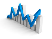 Biznesowy pieniężny prętowy wykres z wzrastać w górę błękitnej strzała Obrazy Royalty Free