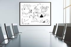 Biznesowy plan na ścianie w sala konferencyjnej z dużymi krzesłami fotografia royalty free