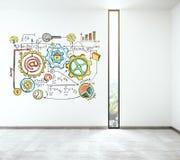 Biznesowy planu pojęcie na białej ścianie Obraz Royalty Free