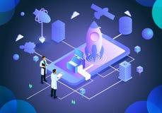 Biznesowy podnosi analizy technologii ilustracyjną stronę royalty ilustracja