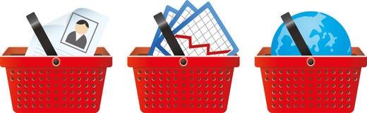 Biznesowy podpisuje wewnątrz sklepowego kosz Obrazy Stock