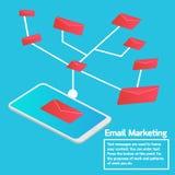 Biznesowy pojęcia smartphone dosłania emaila marketing ilustracja wektor