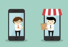 Biznesowy pojęcie, biznesmena zakup coś przez smartphone, online zakupy pojęcie Zdjęcia Stock