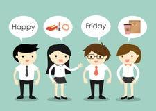 Biznesowy pojęcie, biznesmeni i biznesowe kobiety opowiada o rzeczach robić na Piątku, ilustracja wektor