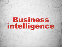 Biznesowy pojęcie: Business Intelligence na ściennym tle Zdjęcia Royalty Free