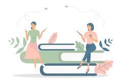 Biznesowy poj?cie, dru?ynowa metafora: ludzie siedz? na ksi??kach i czytaj? ksi??ki, fili?anka kawy Wektorowy ilustracyjny p?aski ilustracji