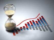 Biznesowy pojęcie. Hourglass i wykres. Fotografia Stock