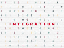Biznesowy pojęcie: Integracja na ściennym tle fotografia stock