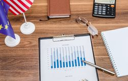Biznesowy pojęcie, kalkulator na pieniężnych mapach i wykresy z flaga, America i Europe Zdjęcie Stock