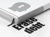Biznesowy pojęcie: książkowa głowa Z Keyhole, Wymazuje dług na białym tle fotografia stock