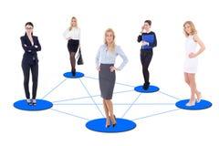 Biznesowy pojęcie - młoda biznesowych kobiet sieć odizolowywająca na whit Zdjęcia Stock
