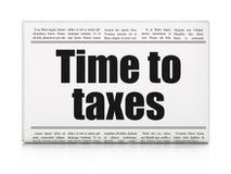 Biznesowy pojęcie: nagłówka prasowego czas podatki Obrazy Stock
