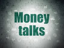 Biznesowy pojęcie: Pieniądze rozmowy na Cyfrowych dane papieru tle Fotografia Stock