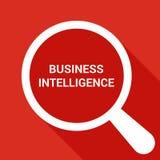 Biznesowy pojęcie: Powiększać Okulistycznego szkło Z słowo business intelligence Zdjęcie Royalty Free