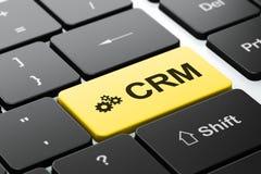 Biznesowy pojęcie: Przekładnie i CRM na komputerze Fotografia Royalty Free