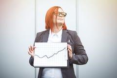 Biznesowy pojęcie sukces i przyrost Pomyślny kobieta szef, Fotografia Stock