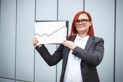 Biznesowy pojęcie sukces i przyrost Pomyślny kobieta szef, Obrazy Royalty Free