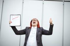 Biznesowy pojęcie sukces i przyrost Pomyślny kobieta szef, Zdjęcie Royalty Free