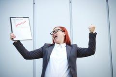 Biznesowy pojęcie sukces i przyrost Pomyślny kobieta szef, Fotografia Royalty Free