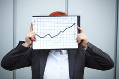 Biznesowy pojęcie sukces i przyrost Pomyślny kobieta szef, zdjęcia stock